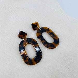 J. Crew Oval Black Brown Dangle Tortoise Earrings
